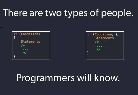 There are 2 types of a programmer. I am on the left :p
